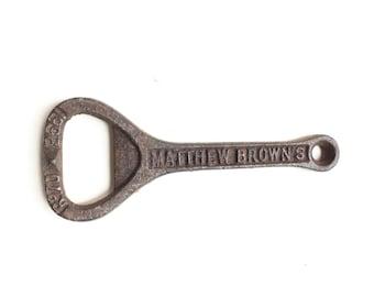 Antique bottle opener cast iron Matthew Brown Nuttal's ironmonger bar accessory bottles vintage keyring rare key chain