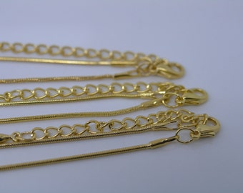 12pcs 16''-18'' Golden Brass Snake Chain Necklace 1.2mm With 5mm(2'') Extension Chain Adjustable Length