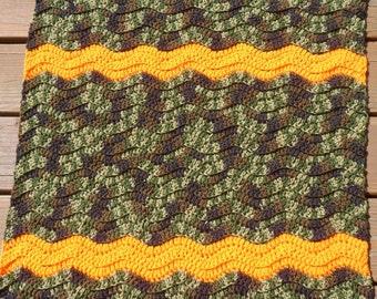 Camo Crib Bedding, Crochet Baby Blanket, Camoflauge Pram, Baby Boy Camo, Newborn Cochet, Ripple Afghan, Stroller Blanket, Baby Boy Blanket