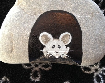 Mouse in his House Hand Painted River Rock