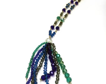 Blues and Greens Crystal Beaded Tassel Necklace