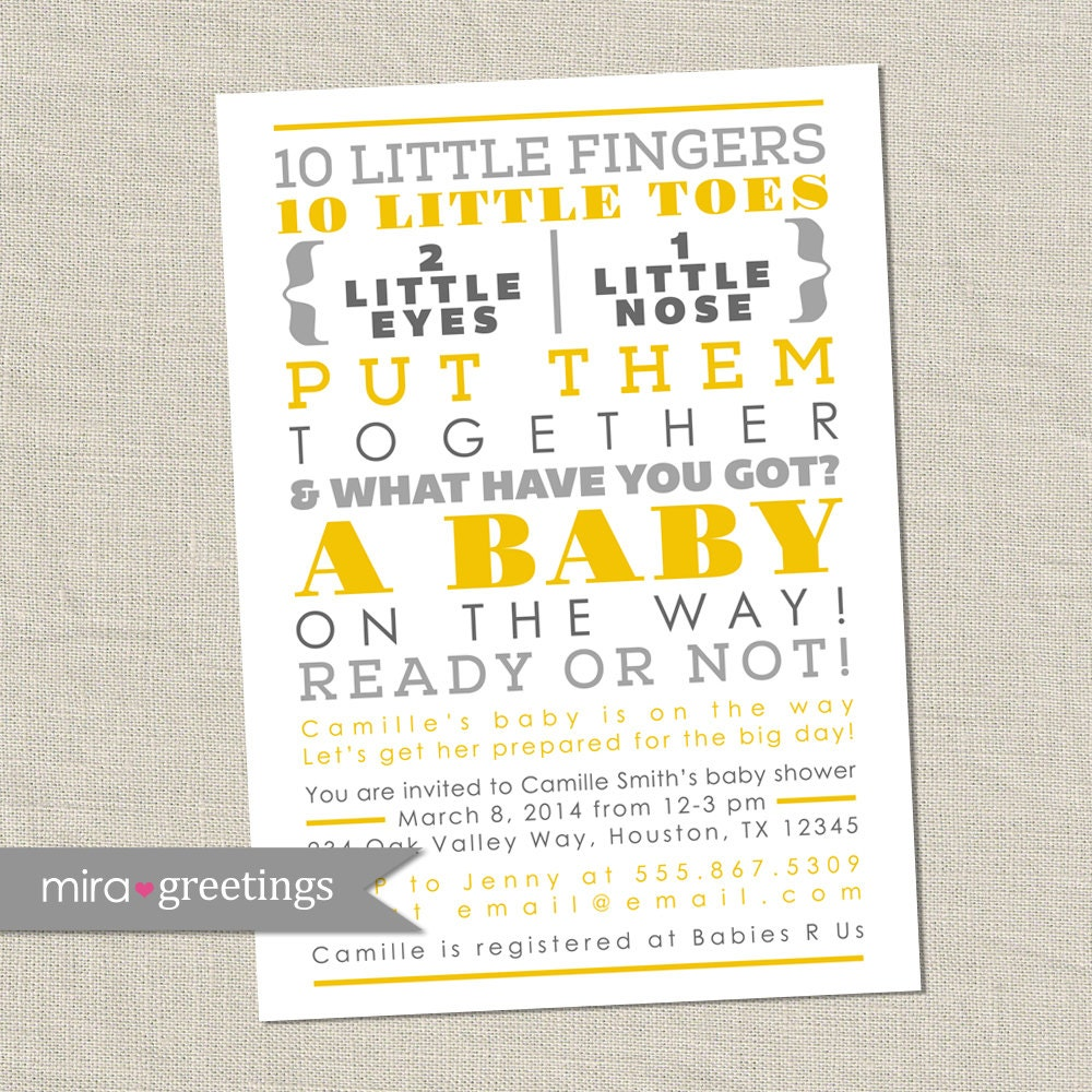 10 Little Fingers Gray and Yellow Baby Shower Invitation - Printable ...