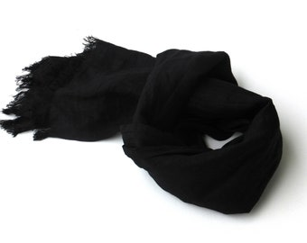 small black linen scarf