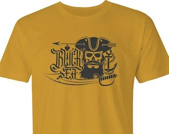 Pirate Skull & Cutlass print T-shirt,Black Sea Pirate, Cutlass Pirate print,Pirates Black Sea Cutlass, Pirate print T-shirt, Pirate Cutlass.