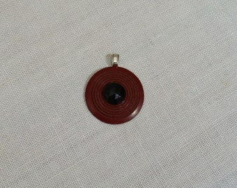 Vintage Burgundy & Black Button Pendant