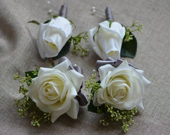 Ivory Rose Boutonnieres Real Touch Roses Corsages Grey Ribbons- Mother Father Flowers Prom Corsage
