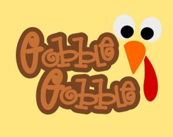 Gobble Gobble Turkey Face; SVG, DXF, PS, Ai and Pdf Digital Files for Electronic Cutting Machines