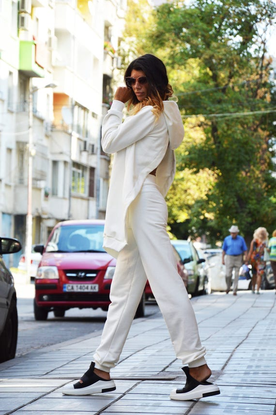 Drop Sport Hooded SSDfashion Set Crotch Maxi Casual White Set Loose Summer Top Pants Off Handmade Blouse by Sweatshirt rqrx8Tv