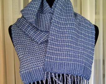 blue gray scarf men women scarf woven blue gray pattern lightweight scarf fringed scarf for guy girl hand loomed scarf hand-woven scarf OOAK