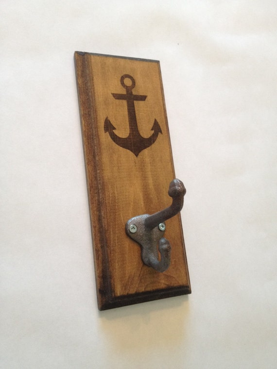 Nautical Rustic Wall Hook with Etched Anchor