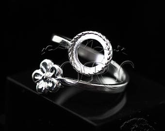 1pcs 925 Sterling Silver Flower Ring Setting Bezel Cup for 8mm Cabochon, Made in Israel, Adjustable Size, N3517ws, White Silver Color