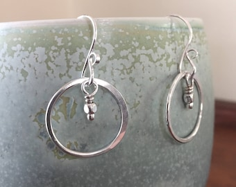 Medium Smooth Silver Hoop Earrings, Sterling Silver Classic Hoops with Silver Bead, Hand Forged Metal Jewelry