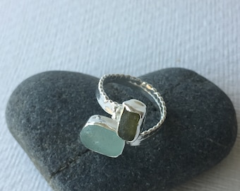 Silver and Cornish sea glass ring
