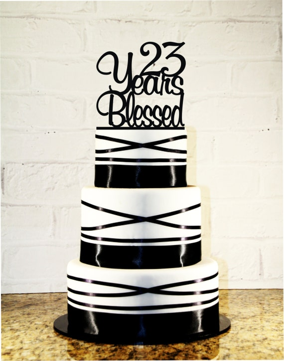 Items similar to 23rd birthday wedding anniversary cake topper items similar to 23rd birthday wedding anniversary cake topper 23 years blessed custom on etsy thecheapjerseys Images