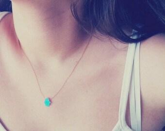 Opal Hamsa Necklace, Gold filled Necklace, Blue Hamsa Necklace, Opal Hand Necklace-14k Gold Filled, Blue Opal Hamsa