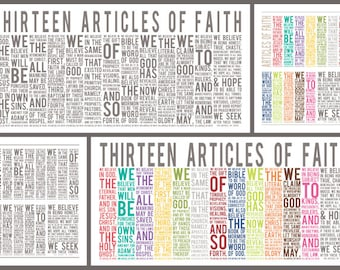Articles of Faith - Subway Art - Instant Download