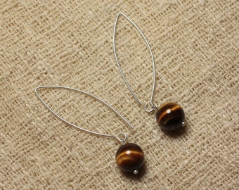 Earrings 925 sterling silver and stone - Tiger eye 10mm