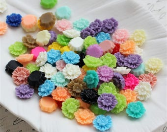 12mm Ruffle Flower Cabochons - Mixed Colors