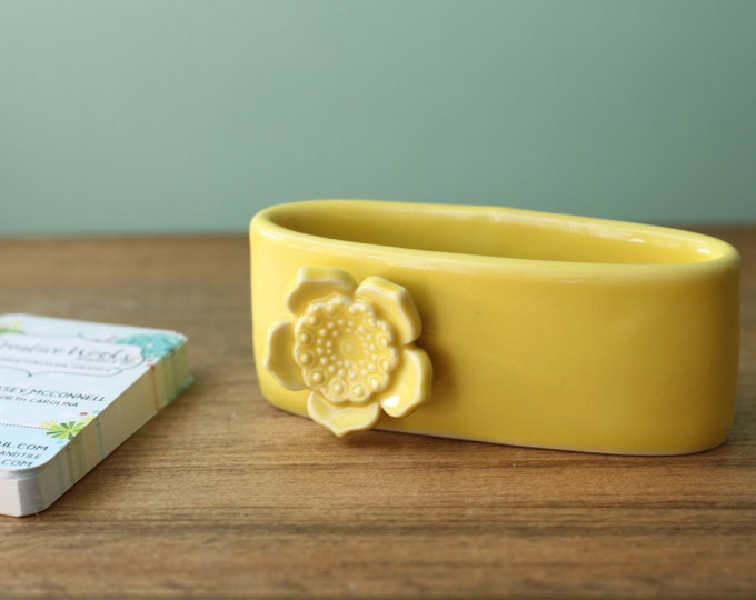 business card holder in yellow