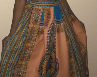 Pink Dashiki African Print Halter Maxi Dress