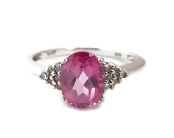 Pink Topaz & Diamond Ring - 14K White Gold Oval Topaz and Diamonds, 1.27ctw, Vintage Ring, Size 7