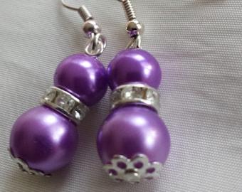 Bridal Pearl Drop Earrings, Bridesmaids Earrings, Bridesmaids Gifts, Bride gift, Cadbury Purple  Pearls, Pearl Earrings, Wedding Earrings
