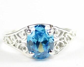 Swiss Blue CZ, 925 Sterling Silver Ring, SR005
