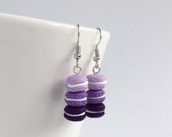 Mini french macaron earrings - purple ombré earrings - bakery minis - pastry charms