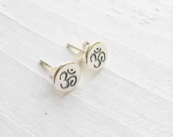 Om Earrings Sterling Silver Yoga Studs Symbol Earings