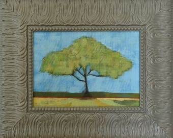 Framed Painting ... Landscape Painting ... Tree Art ... Original Painting on Canvas ... Frame Art ... Ready to Hang Art ... Tree Painting