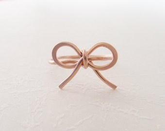 14K Rose Gold Filled Bow Ring, Handmade Bow Ring, wire ring