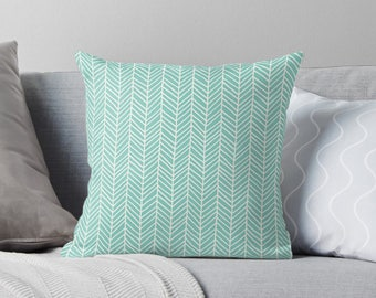 Turquoise Pillow | Turquoise Throw Pillow | Turquoise Cushion | Mint Green Pillow | Green Pillow Cover | Aqua Pillow | Herringbone Pillow