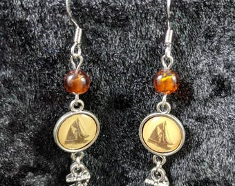 Boats with anchor dangle earrings #24