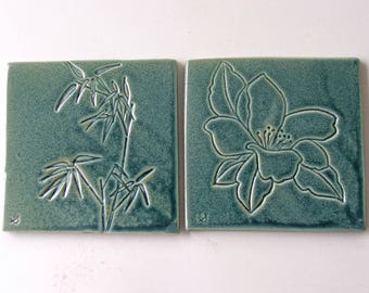 Ceramic Coasters, Set of Two, 100% Handmade, Bamboo and Magnolia
