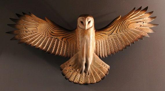 Barn Owl Wood Sculpture Wall Art Jason Tennant