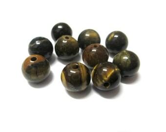 10 pearls 8mm Tiger eye, natural (43 G)