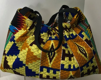 Patchwork Quilted Tote/African Print/Afrocentric/Kente Handbag