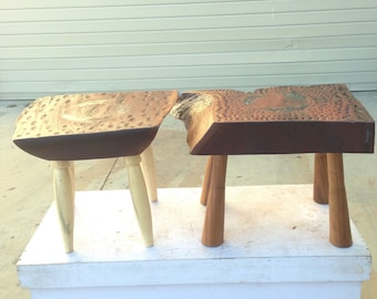 KIN. A pair of stools. Furniture as art. Unique. Handcrafted artisan made