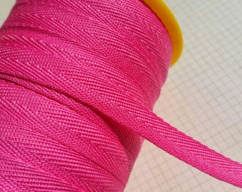 """Bright Pink Twill Tape Trim - POLYESTER Sewing Bunting Shipping Packaging - 3/8"""" Wide - 10 Yards"""