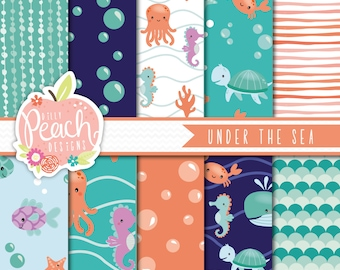 INSTANT DOWNLOAD - Under the Sea Digital Paper Set for Personal and Commercial Use