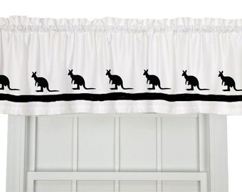 Kangaroo Joey or Ostrich or Hedgehog Window Valance / Treatment - Your Choice of Colors