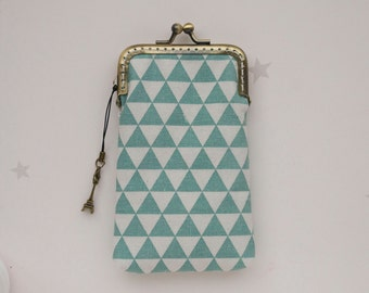 Mint blue Triangle Geometric iPhone wallet fabric / Glasses Case ( iPhone X, iPhone 8, iPhone 8 Plus, Samsung Galaxy S8 etc. )