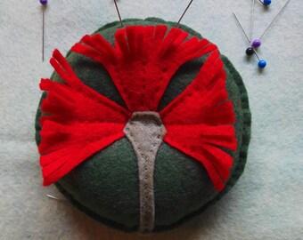 Pohutukawa felt pincushion designed by Cherry Parker