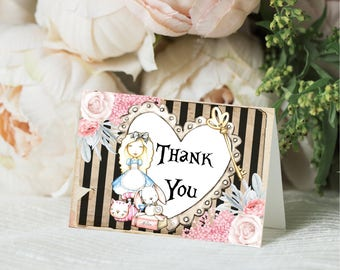 Mini Thank You Cards, Alice in Wonderland Thank You Cards - Wonderland Birthday, Alice in Wonderland Baby Shower - Thank You Cards