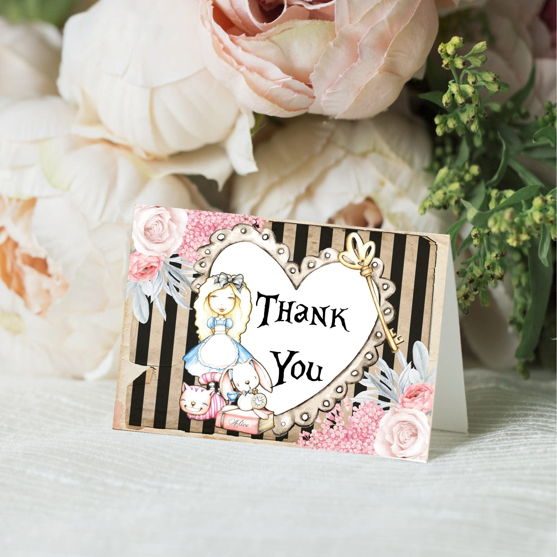 Mini Thank You Cards Alice in Wonderland Thank You Cards