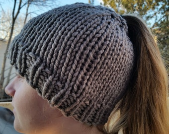 Hand Made, Messy Bun, Ponytail, Chunky, Hand Knit Beanie Hat in Taupe Grey