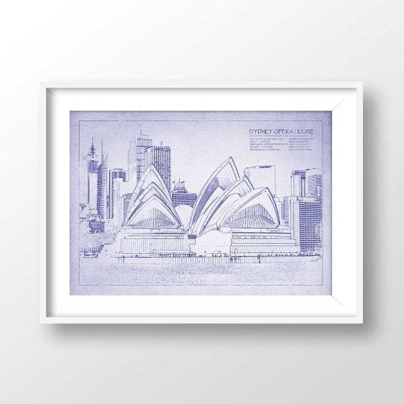 Sydney opera house blueprint sydney poster opera house malvernweather Gallery