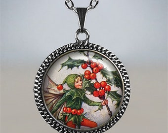 Holly Fairy necklace, Winter Solstice jewelry, Solstice necklace, Holly pendant, Holly necklace, Christmas jewelry, Christmas jewellery,