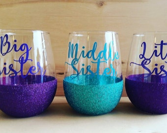 Stemless Wine Glasses- Sister Gifts- Glitter Wine Glasses- Gifts For Her- Gifts For Sisters- Wine lover gifts