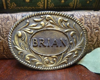 Brass BRIAN Belt Buckle, The Kinney Co. 1977 Brass Brian Belt Buckle   (T)
